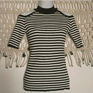 LF black white stripe cold shoulder knit sweater